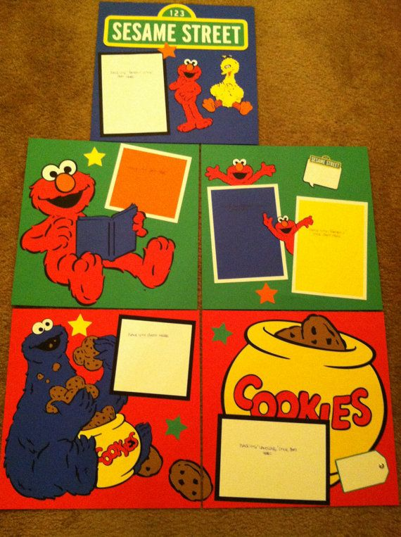 Sesame Street Characters Pre Made 12 x 12 by aSavvyScrapbooker, $90.00