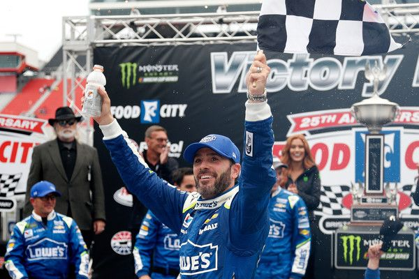Jimmie Johnson Photos Photos - Jimmie Johnson, driver of the #48 Lowe's Chevrolet, celebrates in Victory Lane after winning the Monster Energy NASCAR Cup Series Food City 500 at Bristol Motor Speedway on April 24, 2017 in Bristol, Tennessee. - Monster Energy NASCAR Cup Series Food City 500