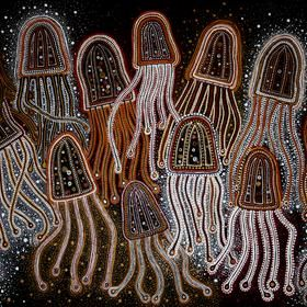 Aboriginal Art. Box Jellyfish by Darlene Devery a self professed new wave contemporary Australian Indigenous artist - a stunning emerging talent to watch... Artwork for sale, make an offer www.artinvesta.com/artist/16 Australia Aboriginal art