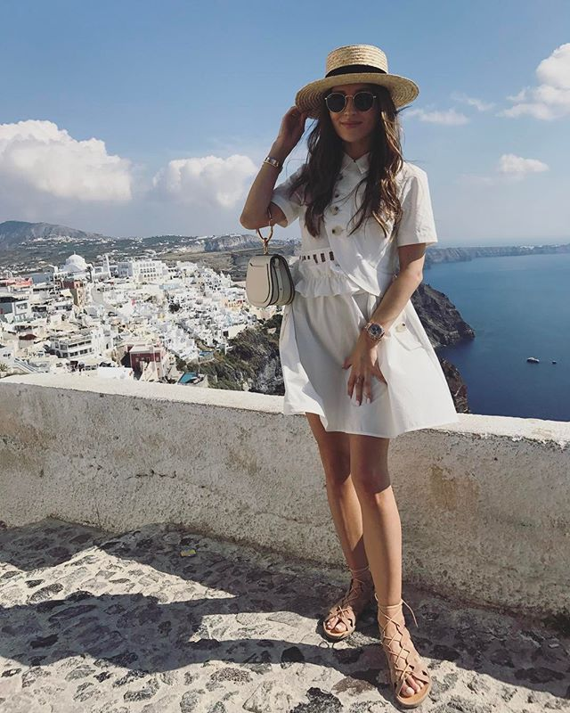 Instagram media by marina_official - Santorini with my  #santorini #greece #holidays #amazingview #fira #firá #bluevibe #ootd  #cute #romanticstyle #greekgirl #greekstyle #style #fashion