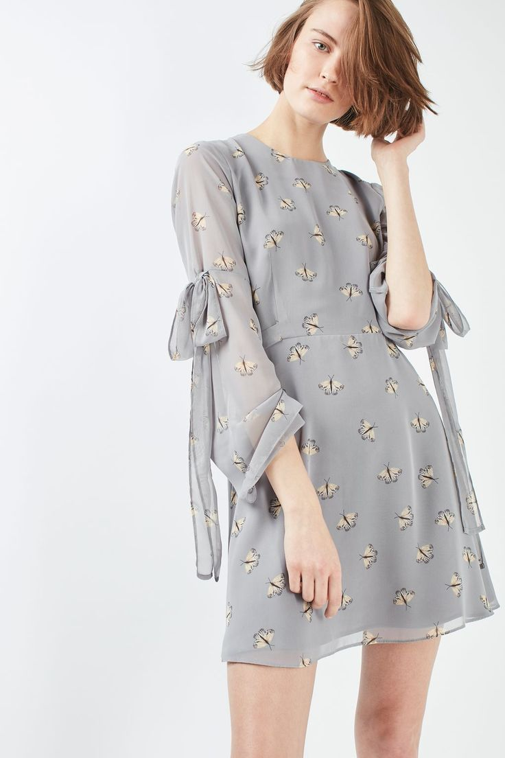 PETITE Moth Tie Sleeve Dress | Topshop