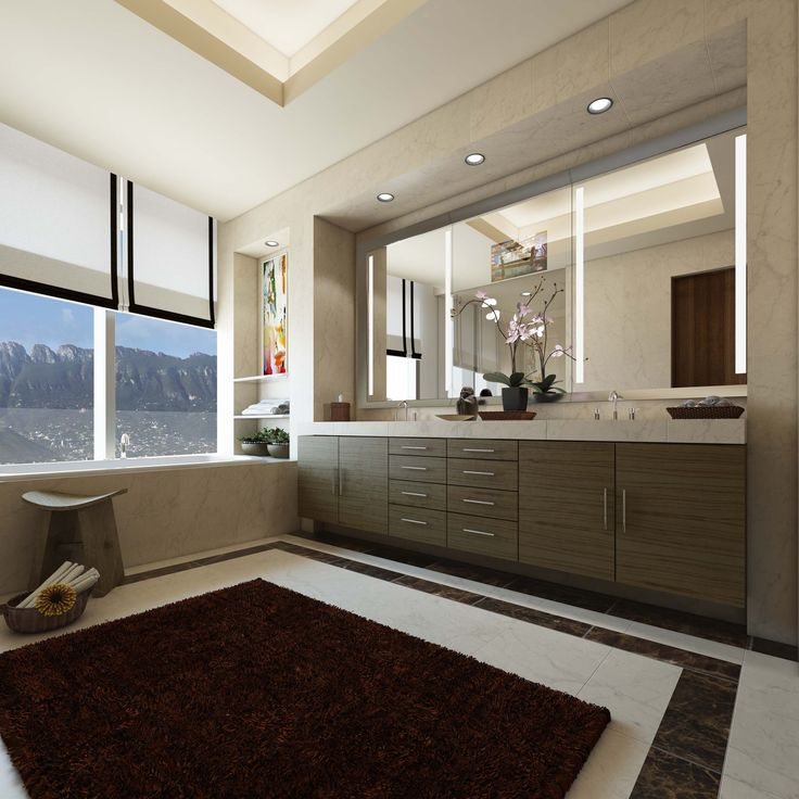 Master Bathroom option featuring custom, medium wood cabinetry, lighted framed mirrors,  and marble flooring by SFA Design