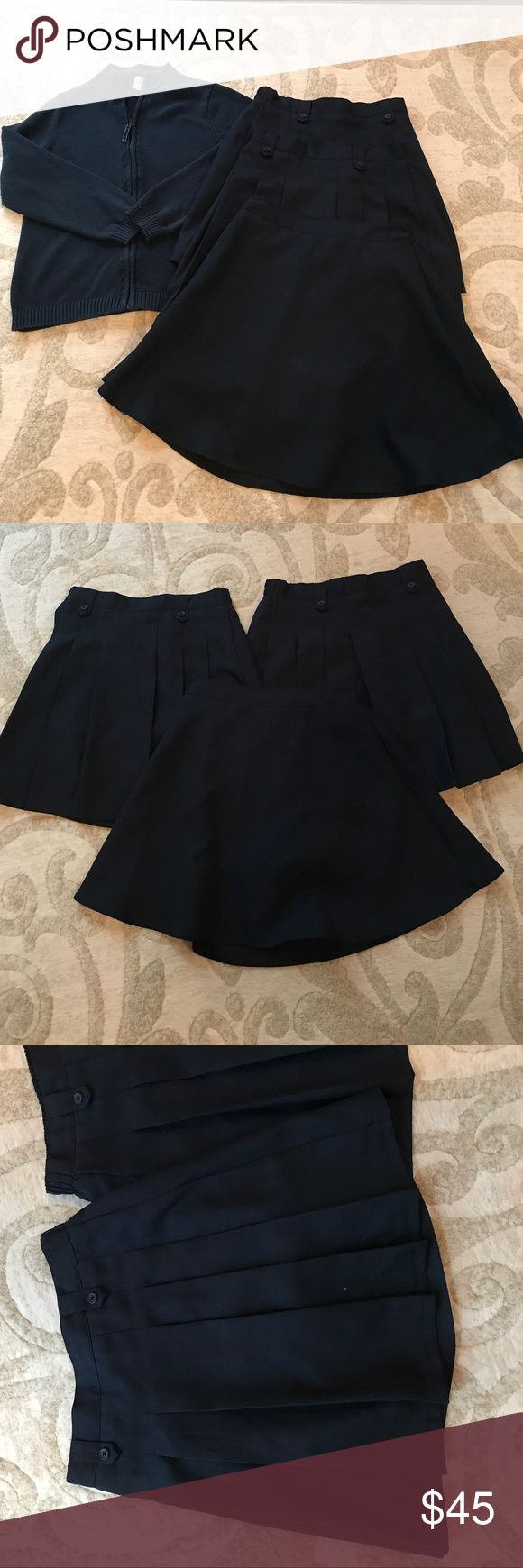 "Lands End, Chaps, Izod uniform pieces. Sz 16 & XL LIKE NEW uniform pieces! Lands End zip front sweater, size XL. 2 pleated Izod skirts size 16 and one flat front Chaps skirt, size 16. All skirts have inner ""playground pants"". These pieces were bought new and worn once if at all. (My dear daughter has something against the color navy and will only wear khaki and white pieces.) Lands' End Other"