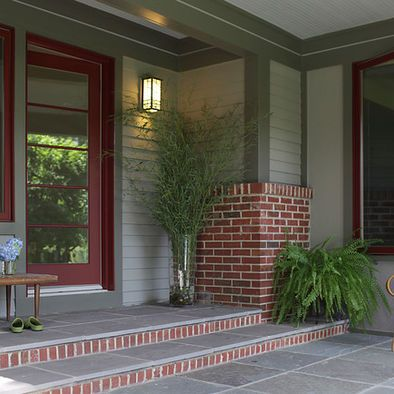 Dark brown siding red windows design pictures remodel for Paint colors with brown trim