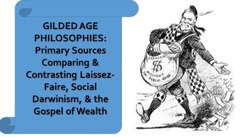 """Covers laissez-faire, Social Darwinism, and Andrew Carnegie's Gospel of Wealth. In this mini-DBQ, students can work independently or in small groups to read and analyze excerpts from Adam Smith on laissez-faire economics, Herbert Spencer on Social Darwinism, and Andrew Carnegie on the """"Gospel of Wealth."""" The document excerpts and guided questions will help students develop a deeper understanding of the philosophies underpinning the Gilded Age and Progressive Era in the United States."""