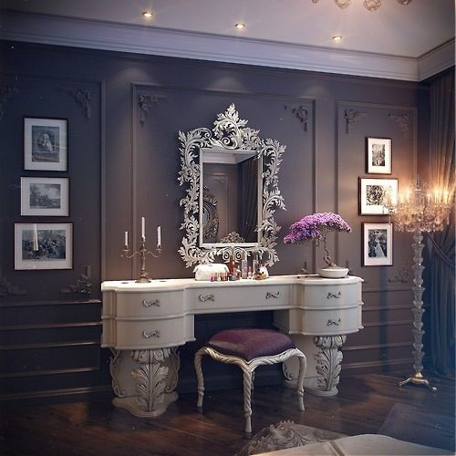 so unusual! ... frosty white against dark grey with aubergine accents!
