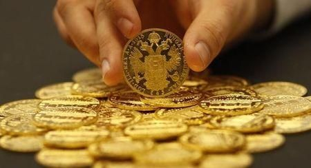Gold coins are seen in the Austrian auction house Dorotheum in Vienna