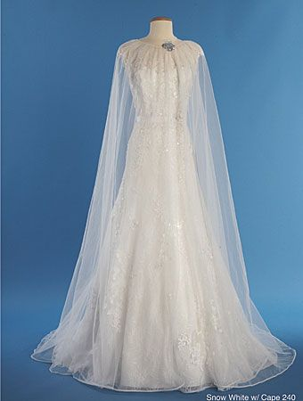Snow White with Cape for 2014 |  Alfred Angelo Bridal Style 240 from Disney Fairy Tale Bridal