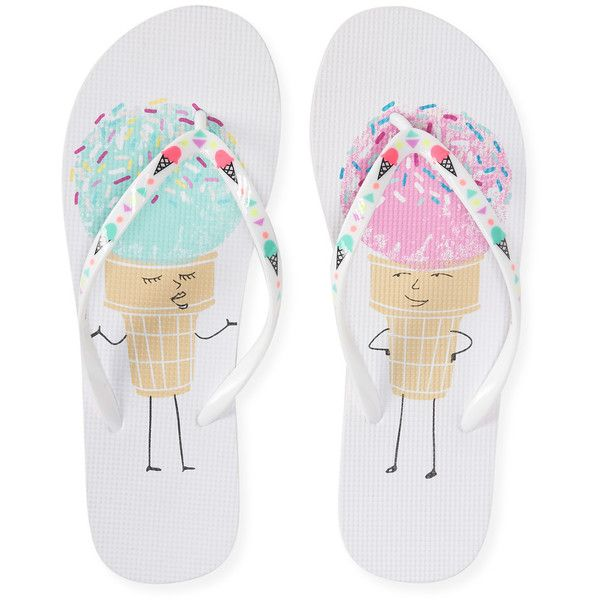 Aeropostale Ice Cream Flip-Flop ($5) ❤ liked on Polyvore featuring shoes, sandals, flip flops, sapatos, zapatos, bleach, rainbow footwear, synthetic shoes, aéropostale and print shoes