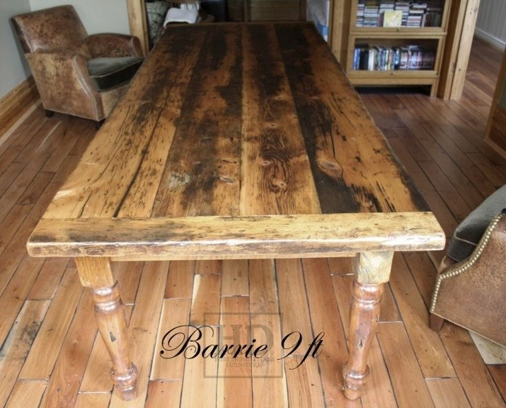 Reclaimed Wood Harvest Table with epoxy/polyurethane finish in Barrie  Ontario Barnwood Cambridge,ON by HD Threshing Floor Furniture  www.hdthreshing… - Reclaimed Wood Harvest Table With Epoxy/polyurethane Finish In