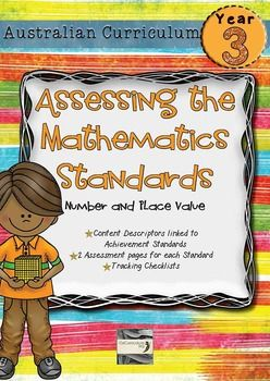 Maths assessment pages directly linking each of the content descriptors and achievement standard of the Year 3 Australian Curriculum for Mathematics.  This pack contains 2 assessment pages.