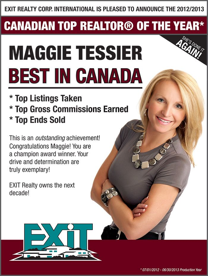 #MaggieTessier was named #ExitRealty's BEST IN CANADA, again! Yay, Maggie!
