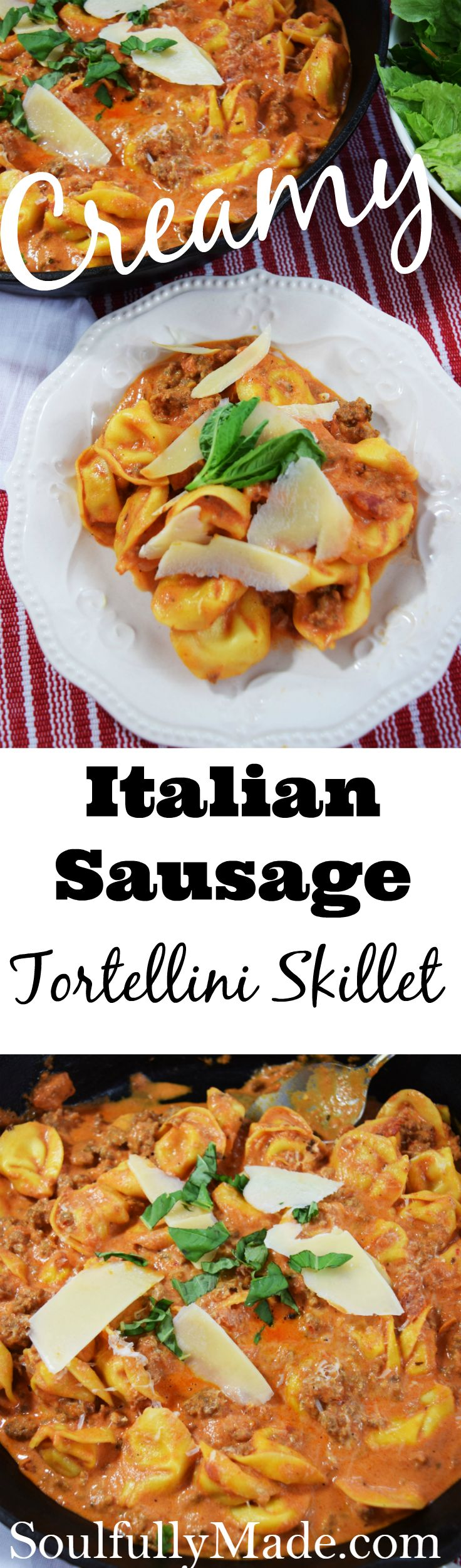 Take 5 Ingredients and 20 Minutes, you'll end up with a restaurant worthy dinner served at home. This Creamy Italian Sausage Tortellini Skillet is an easy, family pleasing meal packed full of comfort that everyone is sure to love. #SundaySupper