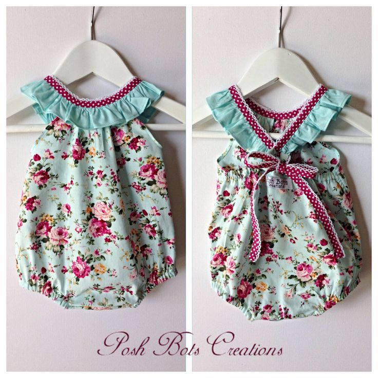 Ruffle neck playsuit - perfect for Summer too cute! Available at www.facebook.com/poshbotscreations