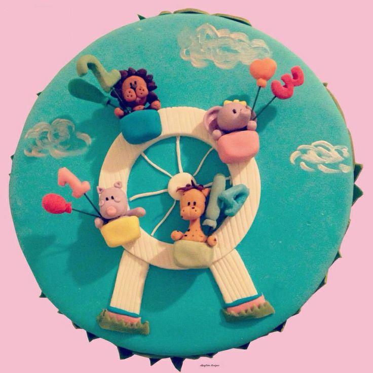 #FerrisWheel #cakedesign #jungleanimals #lion #hippo #giraffe #elephant #birthdaycake #ruotapanoramica #animalidellagiungla #leone #ippopotamo #elefante #giraffa #torta #compleanno