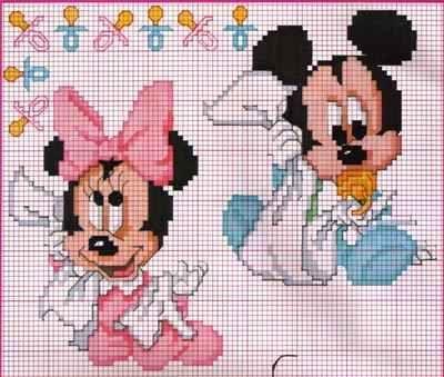 Lindos e delicados  gráficos de ponto cruz Baby Disney do Mickey Mouse e Minnie bebês , para bordar em mantas, fraldinhas e até em roupinha...