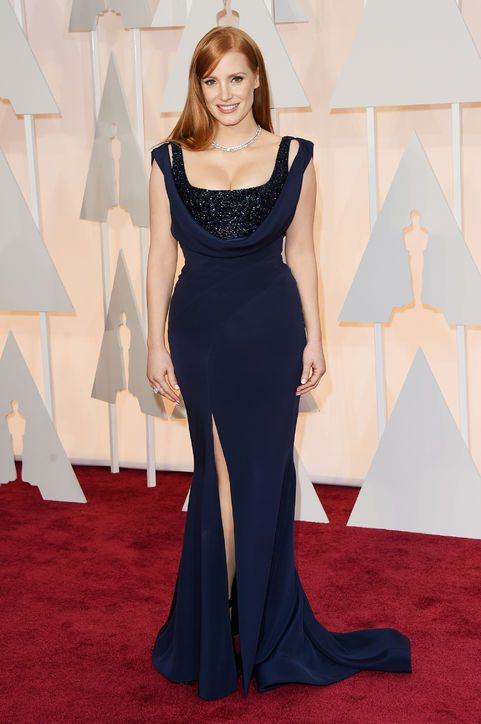 Jessica Chastain in custom Givenchy at the 2015 Oscars