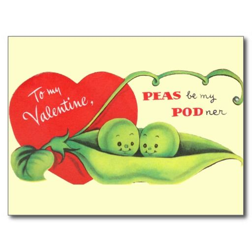 Peas Be My Podner Postcards:    This postcard features a vintage valentine design. The background color, and text, can be customized as needed.     #vintagevalentines #peasinapod #top50onzazzle
