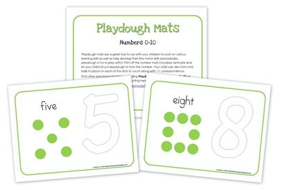 Playdough Mats {free printable}: Print off the number mats included in both sets, laminate them or slide them into a sheet protector, then let your child roll out playdough to form each number. Your child can also form mini balls to place on each of the dots to count along with 1:1 correspondence.