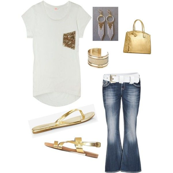 Plus-Size outfit. white t with gold sequin pocket, jeans and choice accessories. #7 in my sets of jeans and tshirt, who says a tshirt can't be fashionable, just add a pop of glam by im-karla-with-a-k on Polyvore featuring polyvore fashion style maurices Express Charlotte Russe Elizabeth Taylor MANGO Whistles