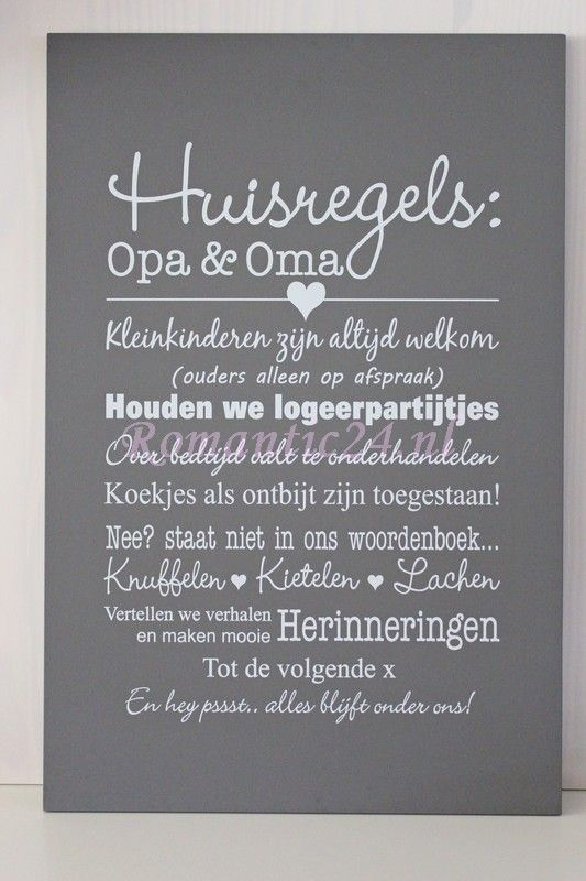 Huisregels bij opa en oma