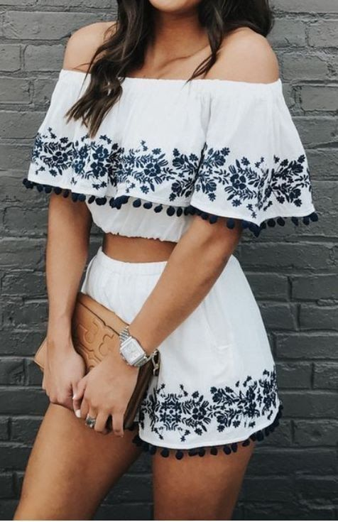 #summer #outfits White Off The Shoulder Embroidered Top & Short + Camel Leather Clutch