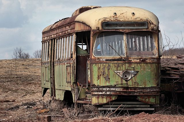 Abandoned bus, dirt, oldie, transportation, wheels, rusty, decay, left, clouds, photograph, photo