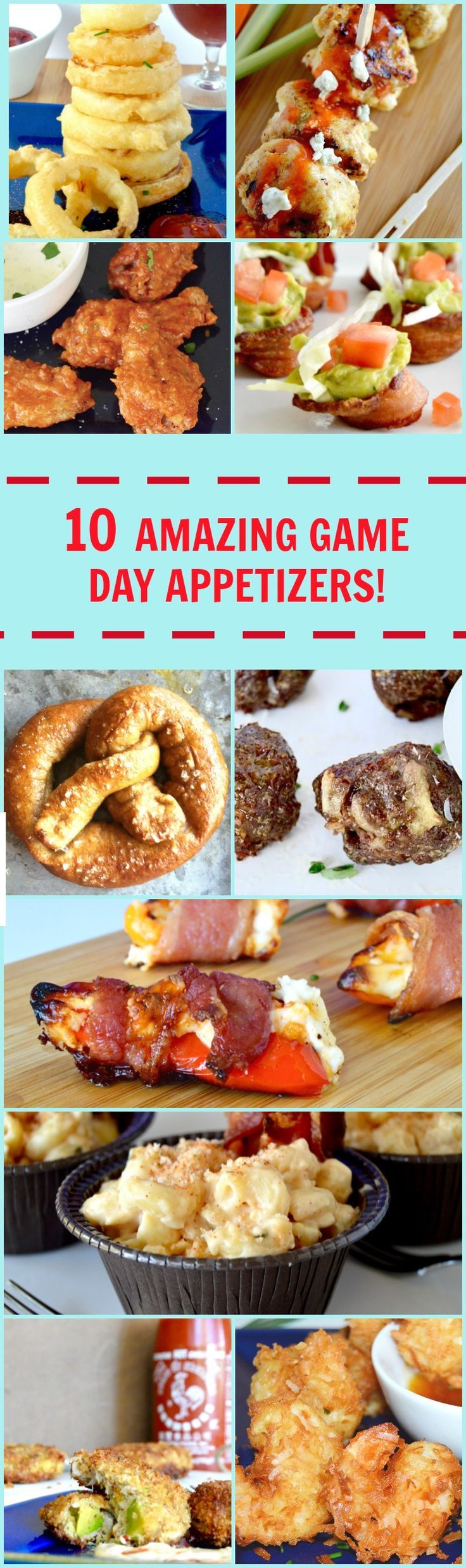 10 amazing Game day Appetizers that will be perfect for any Game day Party! chicken wings, avocado crabcake, buffalo meatballs, Mac n cheese, onion rings, pretzels, poppers, bacon.