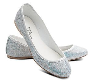 Glittery silver FLAT shoes. All sizes, ok price.  For younger bridesmaids (come in kids AND lady sizes-ALL) and/or for us if our feet hurt in the evening!