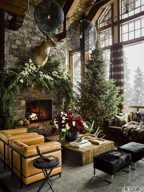 Hello Lovely...the loveliest rooms in America decorated for Christmas: a Montana living room in a ski house designed by Ken Fulk