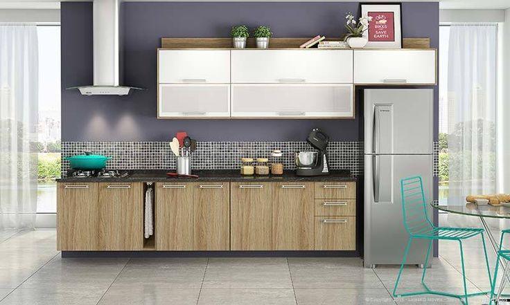 Cozinha Modulada Completa 7 Módulos Suspensa Audace Carvalho Hanover/Branco - Itatiaia