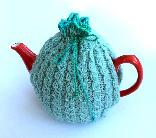 Light Blue knitted tea cosy £17.50