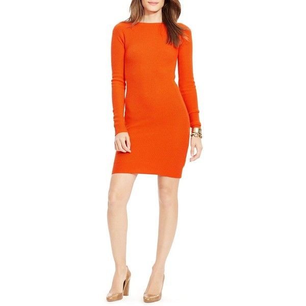 Lauren Ralph Lauren Petites Wool Sweater Dress ($73) ❤ liked on Polyvore featuring dresses, campfire orange, petite, petite dresses, petite sweater dress, wool dress, orange sweater dress and orange dress