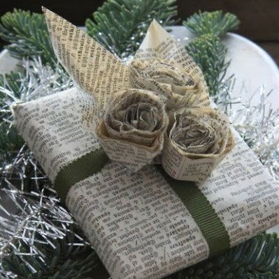 Easy and Creative DIY Gift Wrap Ideas - Newspaper Wrapping and Roses - Click Pic for 25 Gift Wrapping Ideas for Christmas