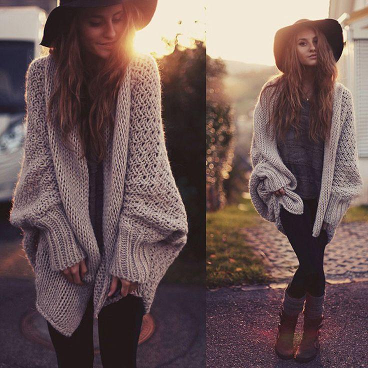 Fashion knit Cardigan Sweater Coat