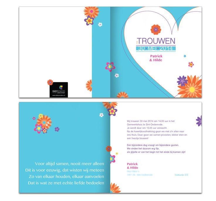 kleurrijk trouwkaart ontwerp