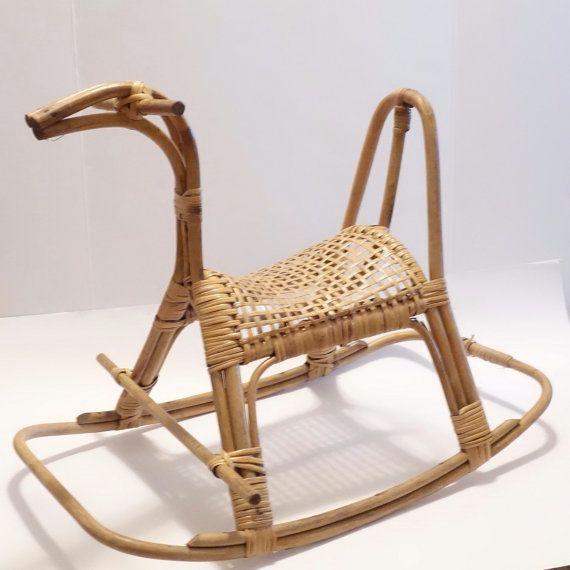 Mid Century Rattan Cane Rocking Horse Vintage Scandinavian Danish Modern Retro…