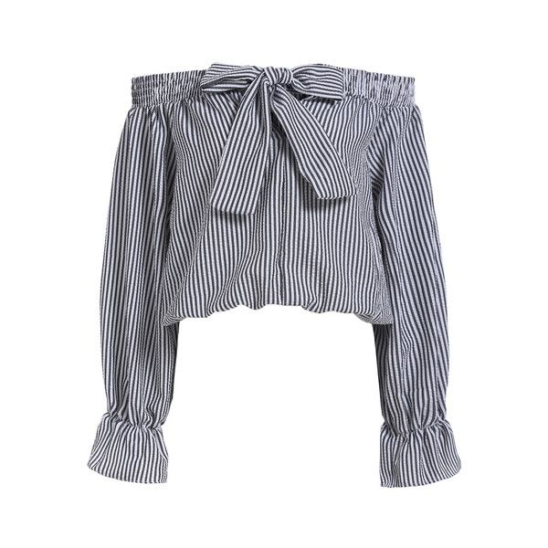 Boat Neck With Bow Vertical Striped Black Top (300 MXN) ❤ liked on Polyvore featuring tops, shirts, shirt tops, vertical stripe shirt and vertical stripe top