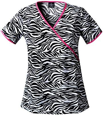 Scrubs - Baby Phat 100% Cotton Animal Instinct Mock Wrap Scrub Top | Lydias Scrubs and Nursing Uniforms