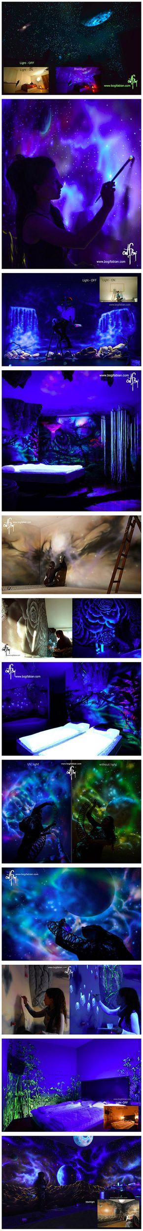 Hungarian-born, Vienna-based artist Bogi Fabian uses glowing UV paint to create gorgeous, luminescent murals that can only be seen under a black light. With the flip of a light switch, blank bedroom walls are suddenly covered with cosmic scenes, glittering stars, beautiful landscapes, and lush flora and fauna that emit an ethereal radiance in the darkness.