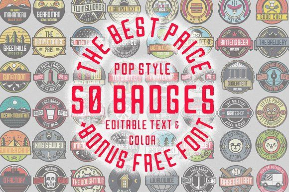 50 Pop Badges + Custom Font by fopifopi on @creativemarket