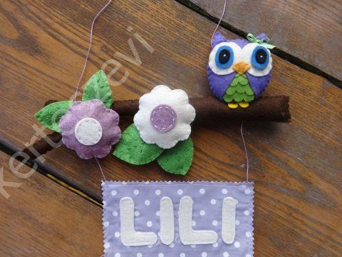 Lila-bézs virágos-baglyos névtábla - filcdísz, függődísz, ajtódísz,  Baba-mama-gyerek, Dekoráció, Otthon, lakberendezés, Gyerekszoba, Csilla kérésére készült ez a filc névtáblám, amely Csilla kérésre alapján készült lila ..., Meska/kerteszevi