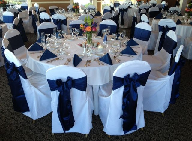 Wedding Navy blue satin sash tie on white poly chair cover
