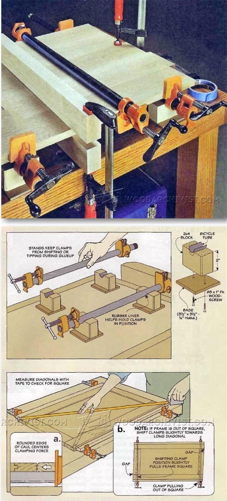 Using Pipe Clamps for Woodworking - Clamp and Clamping Tips, Jigs and Fixtures   WoodArchivist.com