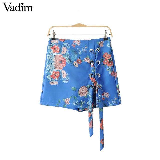 Vadim women sweet lace up floral shorts skirts back zipper ladies summer casual brand shorts pantalones cortos DK366