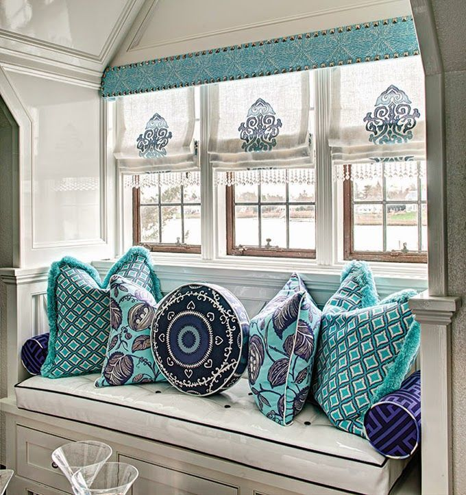 Roman Shades With Beading - Studded Cornice