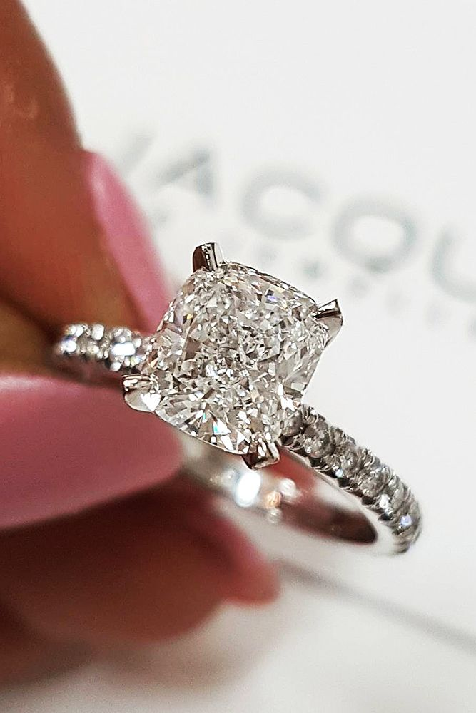Best Engagement Rings That Every Bride Will Love ❤ best engagement rings white gold princess cut solitaire pave band diamond ❤ More on the blog: https://ohsoperfectproposal.com/best-engagement-rings/ #wedding #engagementrings #bestengagementrings