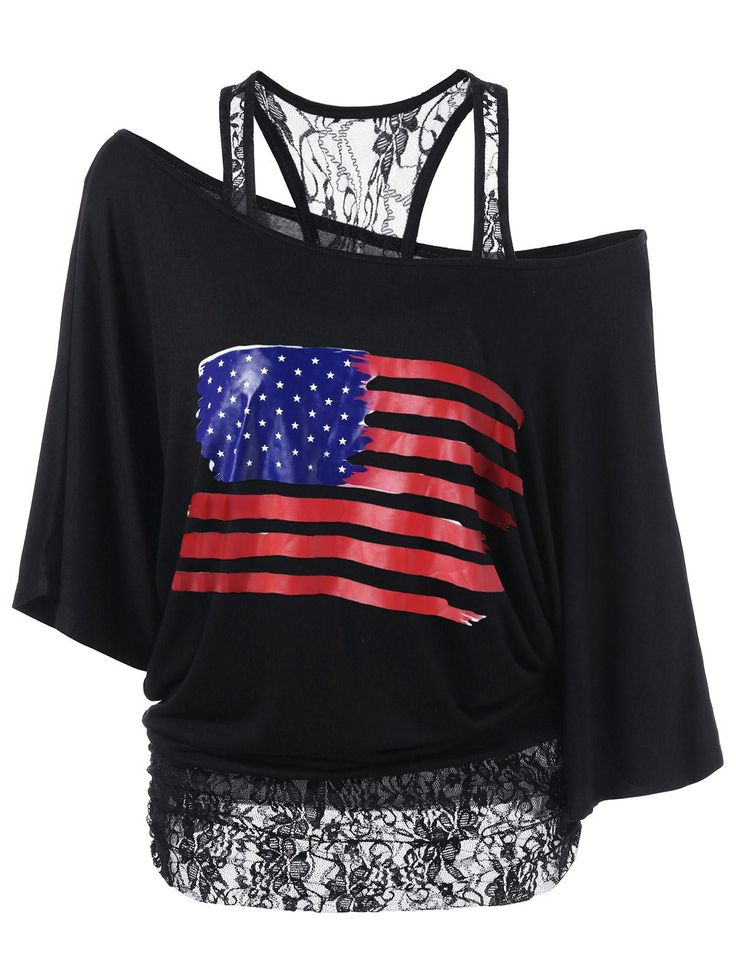 $15.49  Lace Panel American Flag Patriotic T-Shirt in Black | Sammydress.com