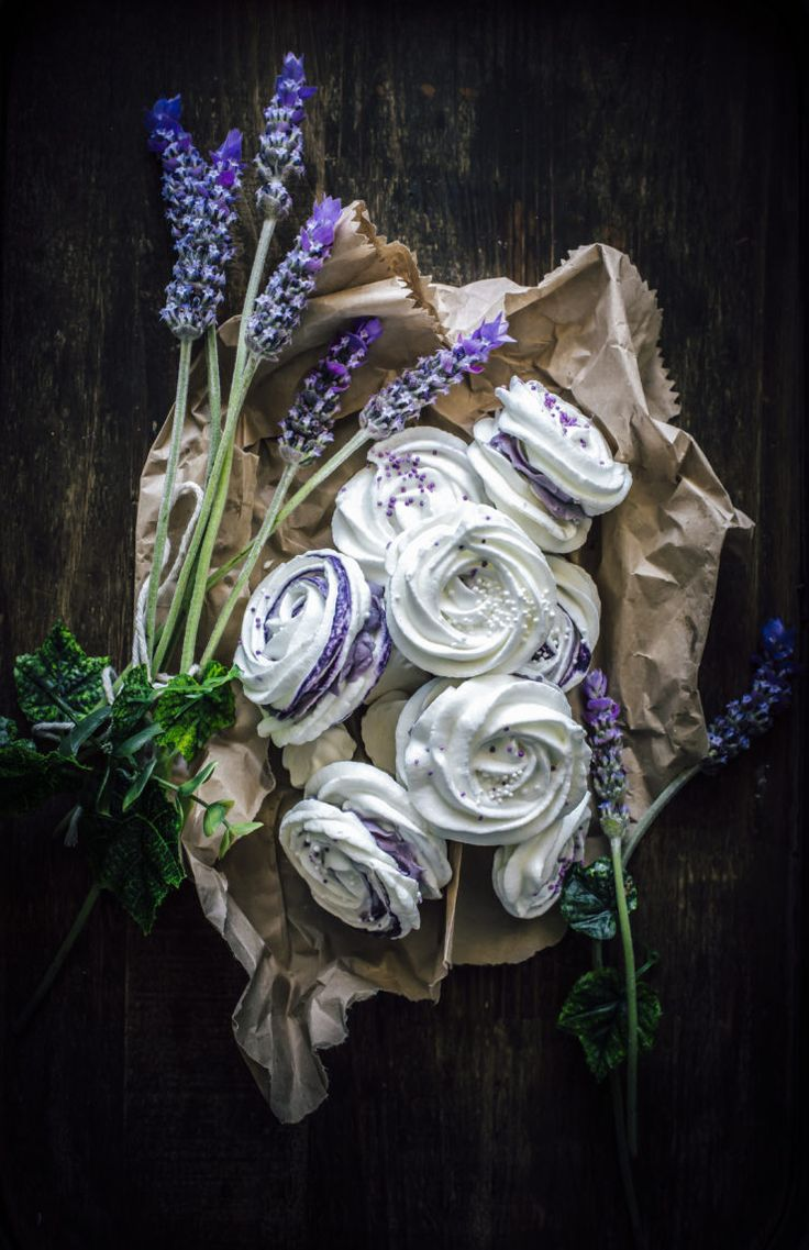 Meringue Rose Cookies with Lavender Cream Cheese Filling