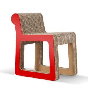 Kartonová židle Knob Red